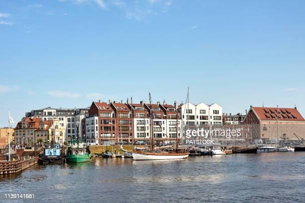 yachts moored in marina, motlawa river - motlawa river stock pictures, royalty-free photos & images