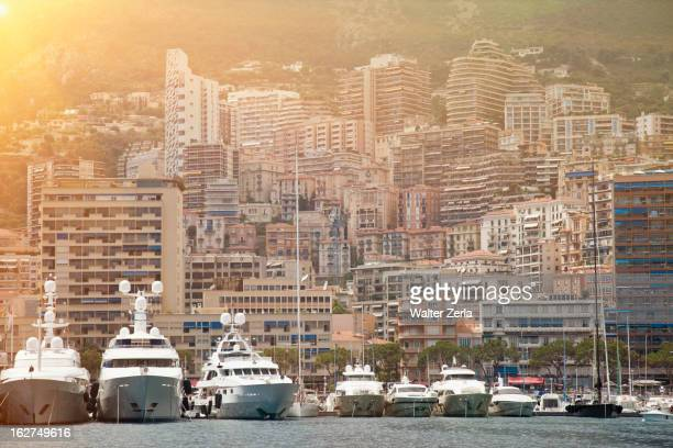 yachts moored in monte carlo - monte carlo stock pictures, royalty-free photos & images
