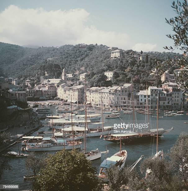 Yachts moored in the Italian fishing village of Portofino circa 1955