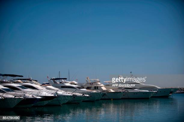 Yachts moored in the Puerto Banus marina area during a raid targeting the Russian mafia of the southern resort of Marbella on September 26 2017 The...