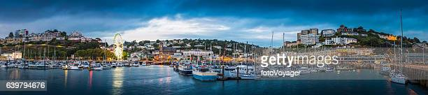 Yachts moored in Torquay harbour marina English Riveria panorama Devon