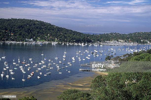 Yachts moored on Pittwater near Newport, Sydney, New South Wales