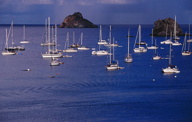 Yachts moored on the Caribbean Sea near Les  Gros Islets.