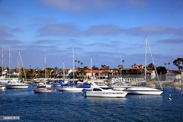 yachts of newport beach california - newport beach california stock photos and pictures
