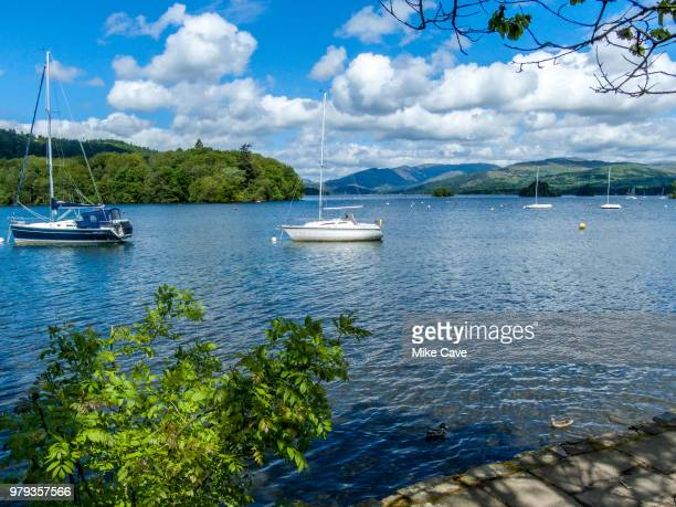 yachts on lake windermere, cumbria, england, uk - lake windermere stock pictures, royalty-free photos & images