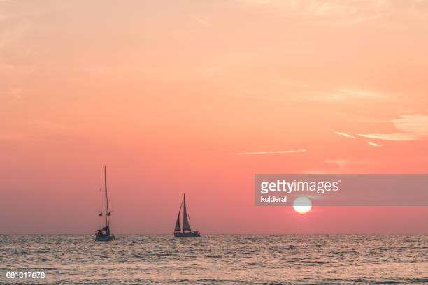 yachts on Mediterranean sunset