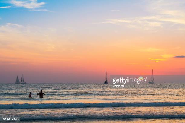 yachts on Mediterranean sunset