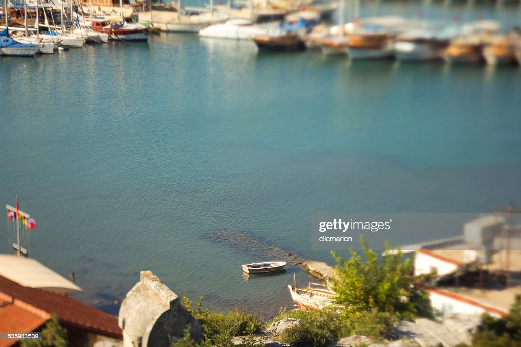 yachts parked in a beautiful bay, top view : Stock Photo