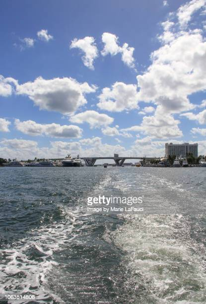 yacht's point of view from the intracoastal waterway - sunrise fort lauderdale stock pictures, royalty-free photos & images