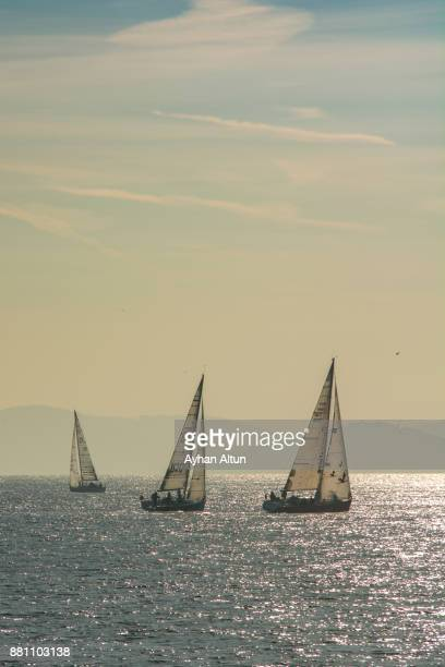 Yachts Racing in the marmara sea near Kadikoy,Istanbul,Turkey