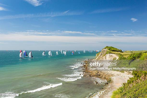 yachts racing off woody bay - isle of wight stock pictures, royalty-free photos & images