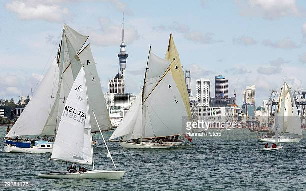 Yachts sail in the Auckland Yachting Regatta held on the Waitemata Harbour to celebrate Auckland Anniversary Day on January 28 2008 in Auckland New...
