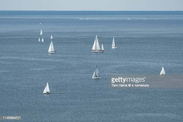 Yachts sailing on Pacific Ocean in Japan