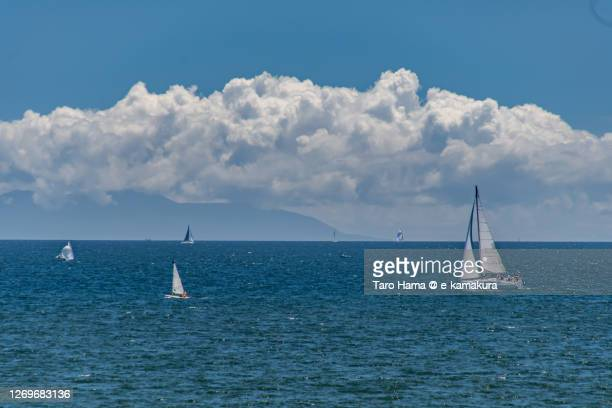 yachts sailing on the summer beach in kanagawa prefecture of japan - 平塚市 ストックフォトと画像