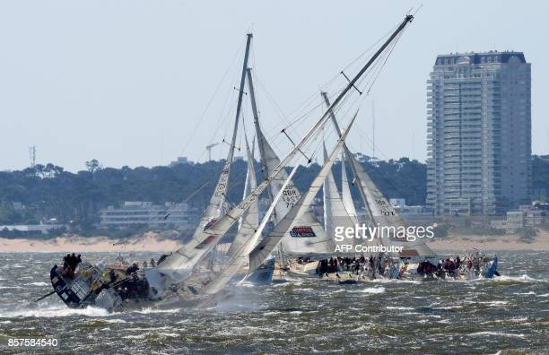 Yachts set sail from the port of Punta del Este about 130km east of Montevideo to Cape Town in South Africa on October 4 2017 during the second leg...