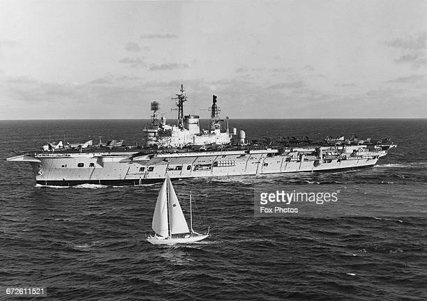 Yachtsman Chay Blyth sails his ocean going yacht British Steel alongside the Royal Navy Audaciousclass fleet aircraft carrier HMS Ark Royal during...