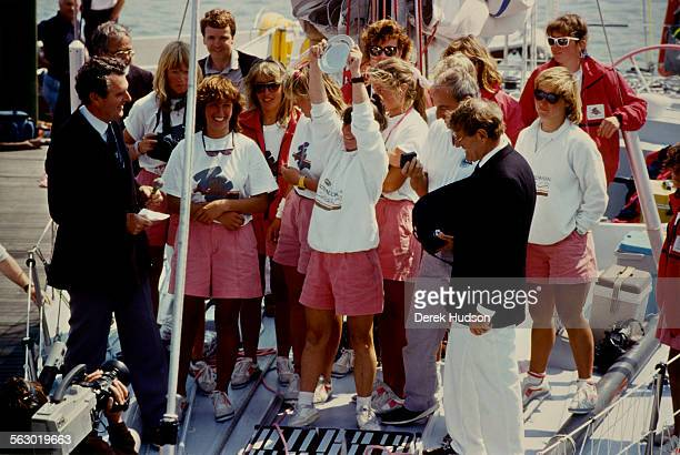 Yachtswoman Tracy Edwards of 'Maiden' accepts the Whitbread Round the World Race trophy on behalf of her allfemale crew at Southampton UK 28th May...