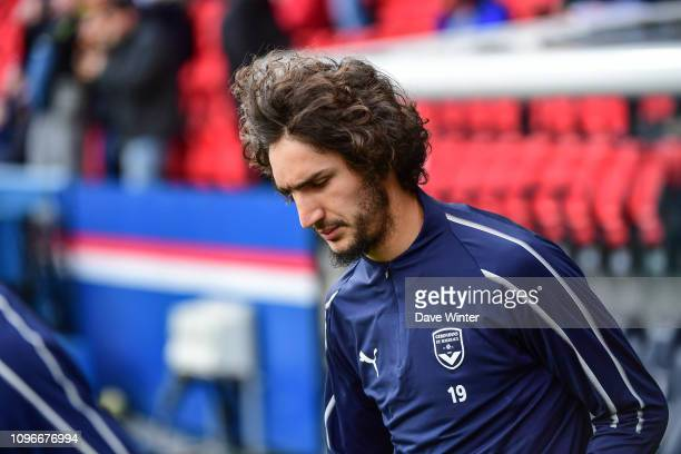 Yacine Adli of Bordeaux comes out to warm up before the Ligue 1 match between Paris Saint Germain and Bordeaux at Parc des Princes on February 9 2019...