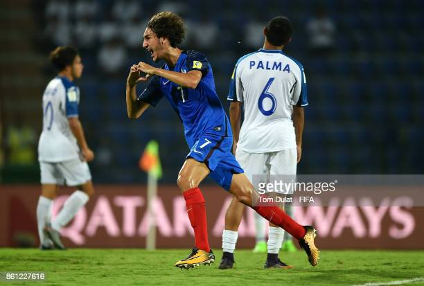 Yacine Adli of France celebrates his goal during the FIFA U-17 World Cup India 2017 group E match between France and Honduras at Indira Gandhi...