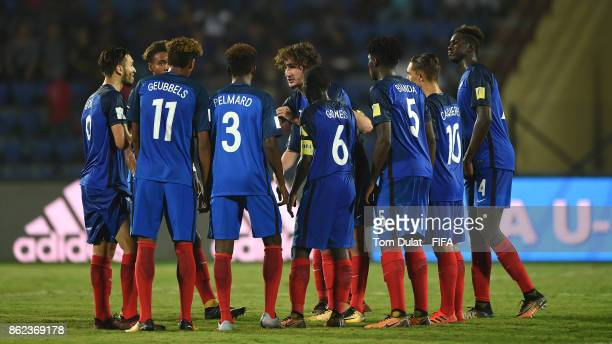 Yacine Adli of France speaks to the players during the FIFA U17 World Cup India 2017 Round of 16 match between France and Spain at Indira Gandhi...