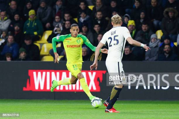 Yacine Bammou of Nantes and Kamil Glik of Monaco during the Ligue 1 match between FC Nantes and AS Monaco at Stade de la Beaujoire on November 29...