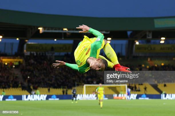 Yacine Bammou of Nantes celebrates after scoring a goal during the Ligue 1 match between Nantes and OGC Nice at Stade de la Beaujoire on December 10...