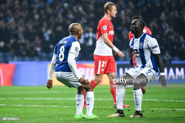 Yacine Brahimi and Vincent Aboubakar of Porto celebrates a goal during the Uefa Champions League match between Fc Porto and As Monaco at Estadio do...