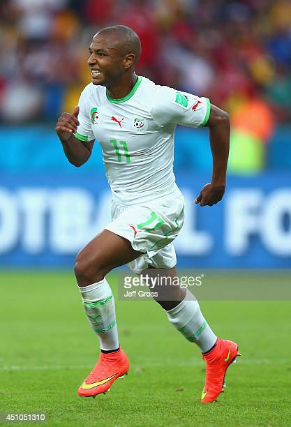 Yacine Brahimi of Algeria celebrates scoring his team's fourth goal during the 2014 FIFA World Cup Brazil Group H match between South Korea and...