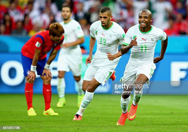 Yacine Brahimi of Algeria celebrates scoring his team's fourth goal during the 2014 FIFA World Cup Brazil Group H match between Korea Republic and...