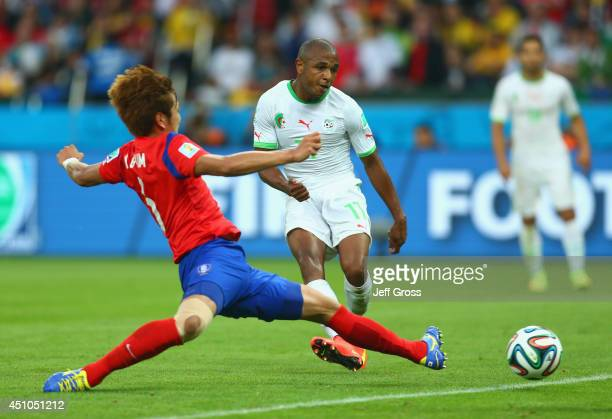 Yacine Brahimi of Algeria scores his team's fourth goal during the 2014 FIFA World Cup Brazil Group H match between South Korea and Algeria at...