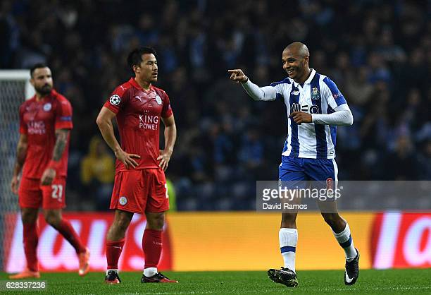 Yacine Brahimi of FC Porto celebrates scoring his sides third goal during the UEFA Champions League Group G match between FC Porto and Leicester City...