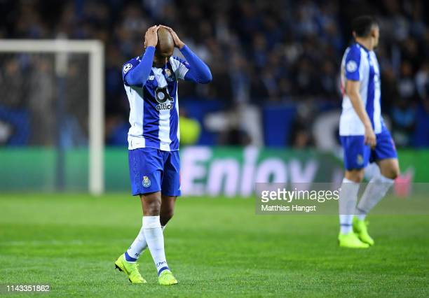 Yacine Brahimi of FC Porto reacts during the UEFA Champions League Quarter Final second leg match between Porto and Liverpool at Estadio do Dragao on...
