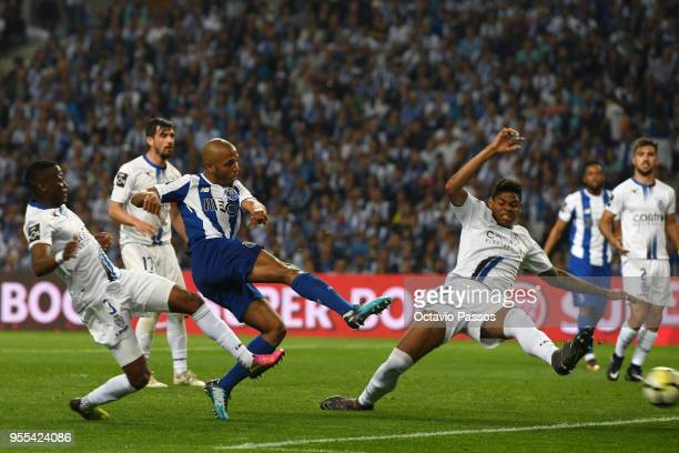 Yacine Brahimi of FC Porto scores the second goal during the Primeira Liga match between FC Porto and Feirense at Estadio do Dragao on May 6 2018 in...