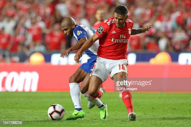 Yacine Brahimi of FC Porto with Toto Salvio of SL Benfica seen in action during League NOS 2018/19 football match between SL Benfica vs FC Porto...