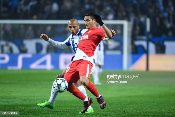 Yacine Brahimi of Porto and Rony Lopes of Monaco during the Uefa Champions League match between Fc Porto and As Monaco at Estadio do Dragao on...