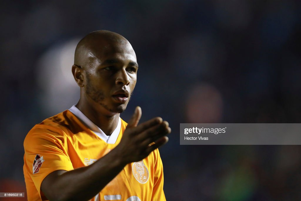 Yacine Brahimi of Porto gestures during a match between Cruz Azul and Porto as part of Super Copa Tecate at Azul Stadium on July 17, 2017 in Mexico City, Mexico.