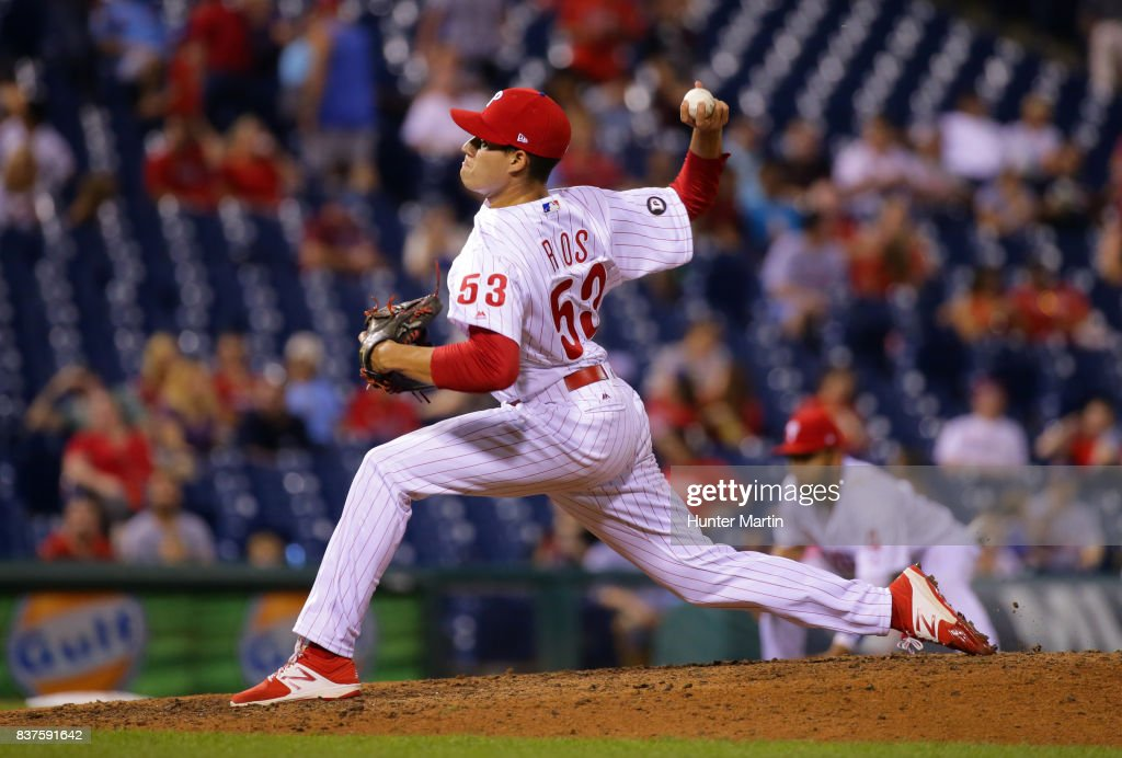 Yacksel Rios #53 of the Philadelphia Phillies throws a pitch in the sixth inning, as he makes his major league debut, during game two of a doubleheader against the Miami Marlins at Citizens Bank Park on August 22, 2017 in Philadelphia, Pennsylvania. The Marlins won 7-4.