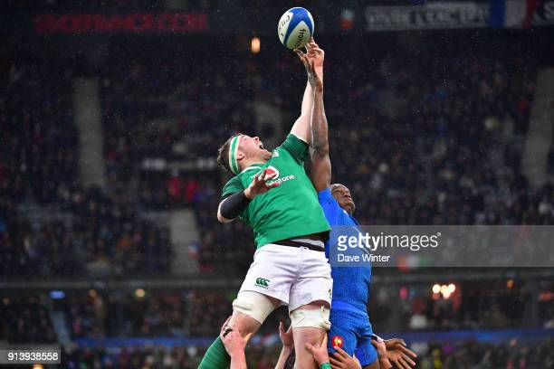 Yacouba Camara of France and Peter O'Mahony of Ireland during the RBS Six Nations match between France and Ireland at Stade de France on February 3...
