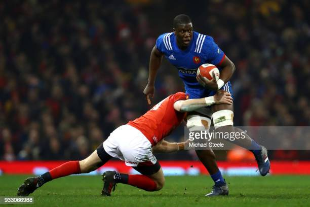 Yacouba Camara of France is held up by the Welsh defence during the NatWest Six Nations match between Wales and France at Principality Stadium on...