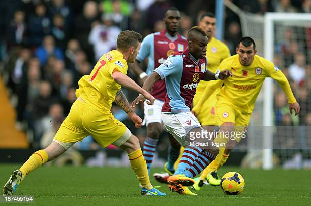 Yacouba Sylla of Aston Villa runs with the ball during the Barclays Premier League match between Aston Villa and Cardiff City at Villa Park on...