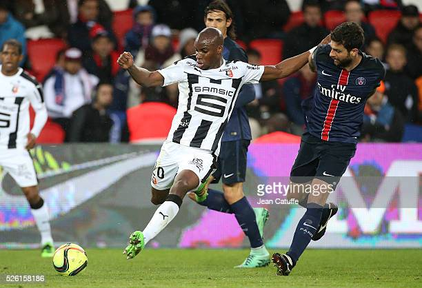 Yacouba Sylla of Rennes and Thiago Motta of PSG in action during the French Ligue 1 match between Paris SaintGermain and Stade Rennais FC at Parc des...