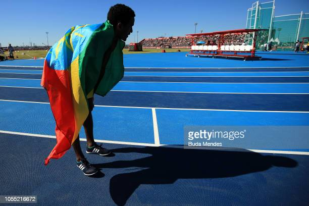 Yada Tasew of Ethiopia wins the gold medal in Men's 800m during day 9 of Buenos Aires 2018 Youth Olympic Games at Youth Olympic Park Villa Soldati on...