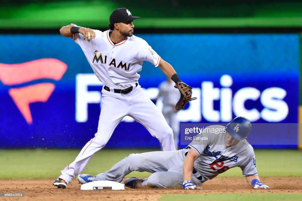 Yadiel Rivera #2 of the Miami Marlins throws towards first on a game ending double play against the Los Angeles Dodgers at Marlins Park on May 16, 2018 in Miami, Florida.
