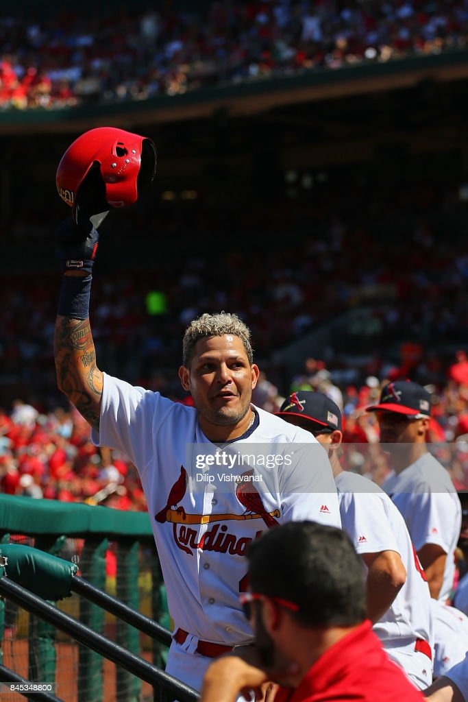 Yadier Molina #4 of the St. Louis Cardinals acknowledges the crowd after hitting a three-run home run against the Pittsburgh Pirates in the third inning at Busch Stadium on September 10, 2017 in St. Louis, Missouri.