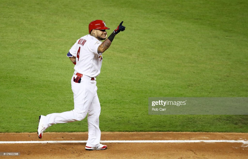 Yadier Molina #4 of the St. Louis Cardinals and the National League celebrates after hitting a solo home run in the sixth inning against the American League during the 88th MLB All-Star Game at Marlins Park on July 11, 2017 in Miami, Florida.