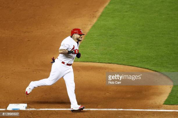 Yadier Molina of the St. Louis Cardinals and the National League runs the bases after hitting a solo home run in the sixth inning against the...