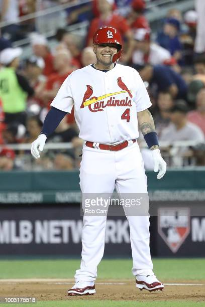 Yadier Molina of the St Louis Cardinals and the National League during the 89th MLB AllStar Game presented by Mastercard at Nationals Park on July 17...