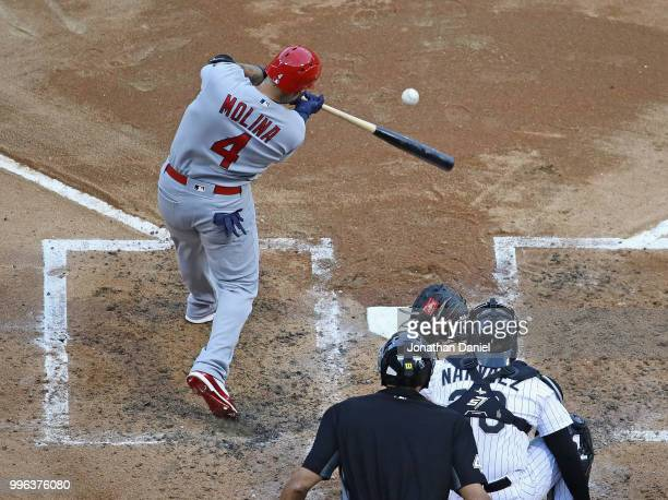Yadier Molina of the St Louis Cardinals bats against the Chicago White Sox at Guaranteed Rate Field on July 10 2018 in Chicago Illinois The Cardinals...