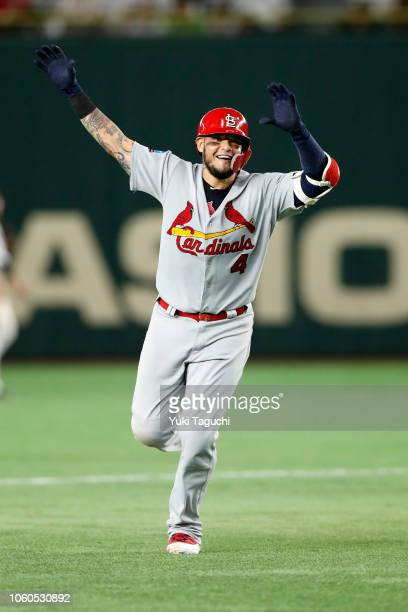 Yadier Molina of the St Louis Cardinals celebrates after hitting a threerun home run in the fifth inning during the Japan AllStar Series game against...