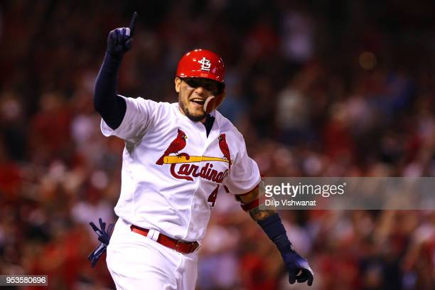 Yadier Molina of the St Louis Cardinals celebrates after hitting a walkoff single against the Chicago White Sox in the ninth inning at Busch Stadium...